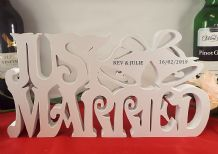 just married with bells freestanding personalised wedding gift